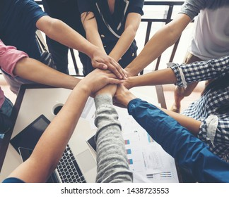 Image together collaborate of hands teamwork in meeting room office. Business Finance Network group people. mergers and acquisitions for start greeting with good etiquette negotiation to work success