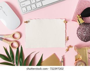 image of top view of feminine desk
