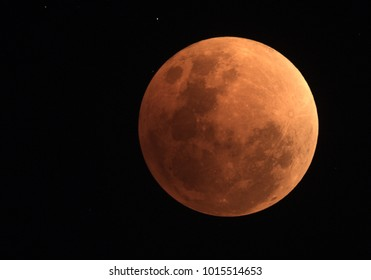 Image of total Lunar eclipse  on 31 January 2018 at 13:30UT as it appeared as supermoon at perigee and also a blue Moon as a second full moon of January 2018