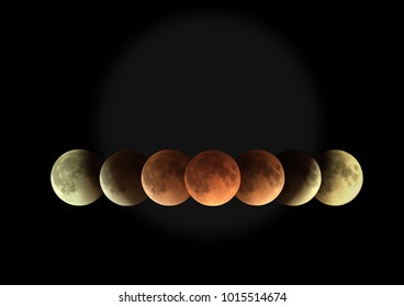 Image of total Lunar eclipse time series on 31 January 2018 as it appeared as supermoon at perigee and also a blue Moon as a second full moon of January 2018 each image represented 30 minutes apart.