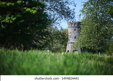 Image of a tower near town Daun in the Eifel of Germany in summer
