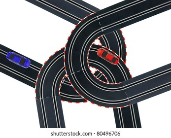 An image of a toy slot car racing track