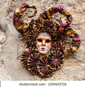 Image of a traditional mask used in Annecy, France, during a Venetian Carnival which celebrates the beauty of the real Venice.
