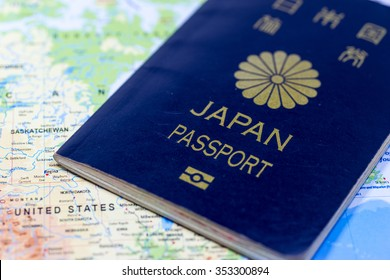 Image of travel, with Japanese passport and map