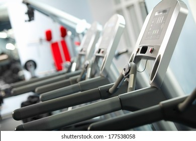 Image of treadmill in gym. Fitness and athletics