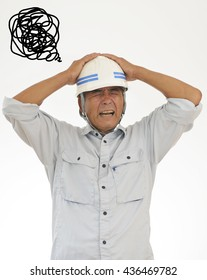 Image of a troubled construction worker