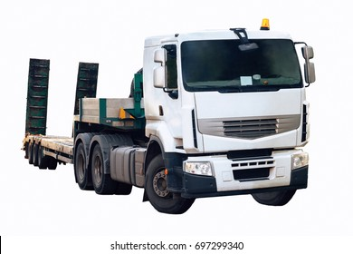 the image a truck tractor with semi-trailer, isolated