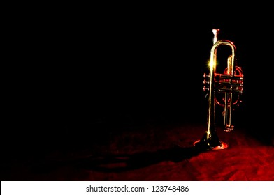 An image of a trumpet on black