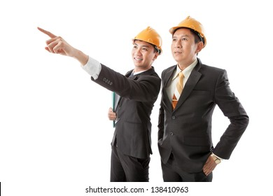 Image of two busy businessmen isolated on white