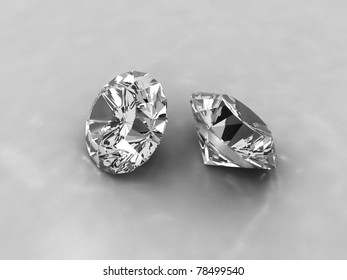 An image of two cut diamonds on a white background