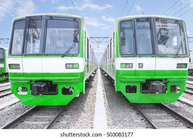 Image of two electric trains after recondition while the recently finished