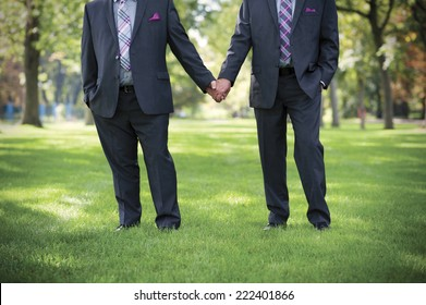 Image of two men Holding hands at gay Wedding