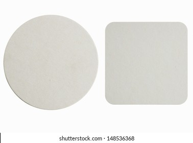 Image of two new beer coasters isolated on a white background. Add your own design or logo.