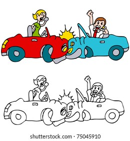 An image of a two people crashing their cars while talking on cell phones.