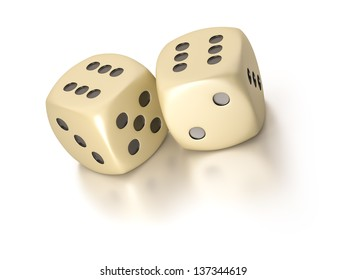 An image of two simple dice with six up
