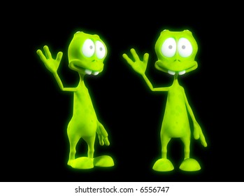 An image of two very friendly waving aliens.