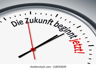 An image of a typical clock with text the future starts now in german language