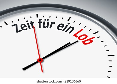 An image of a typical clock with text time for a praise in german language