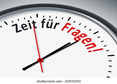 An image of a typical clock with text time for questions in german language