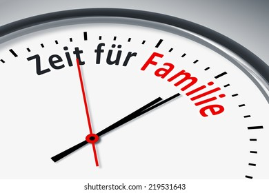 An image of a typical clock with text time for family in german language