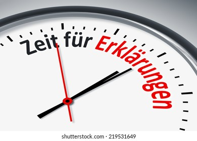 An image of a typical clock with text time for explanations in german language