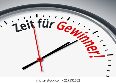 An image of a typical clock with text time for winners in german language