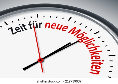 An image of a typical clock with text time for new possibilities in german language