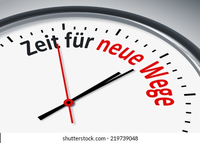 An image of a typical clock with text time for new ways in german language