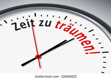 An image of a typical clock with text time to dream in german language