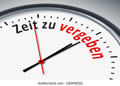 An image of a typical clock with text time to forgive in german language