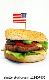 Image of a typical hamburger with American flag