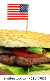 Image of a typical hamburger detail with American flag
