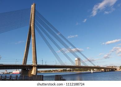 A image of the Vansu bridge that spans the river Daugava in the Latvian capital of Riga.