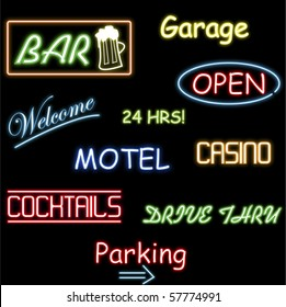 Image of various colorful neon signs isolated on a black background.
