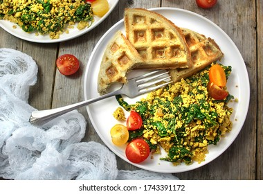 Image of Vegan Spinach Tofu Scramble with  Gluten Free Waffles