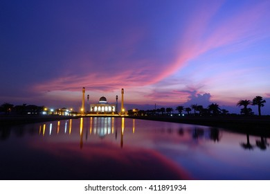 Image view of Center Mosque Songkhla  in evening :select focus with shallow depth of field.ideal use for background.