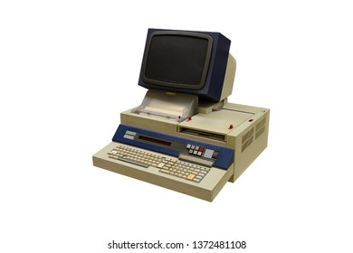 image of vintage computer isolated on white background