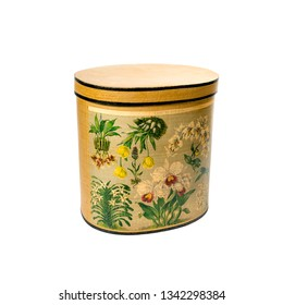image of a vintage hatbox yellow color isolated on white. closed lid. With decoupage