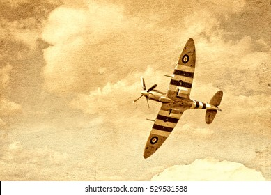 An image of a vintage spitfire airplane, in a textured yellow background. Great for vintage aeroplane articles, fiction stories and fanfare. Textured and blurred intentionally.