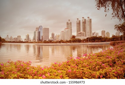 image vintage style bangkok city downtown with Bougainvillea flower foreground