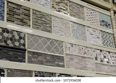 Image of a wall of tile samples at a home improvement warehouse store