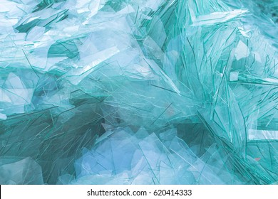 Image of waste glass for recycling in industry,broken glass recycled