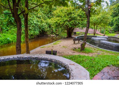 image of water pond at Pong Nam Ron Tha Pai hot spring the famous attraction lanmark at Pai district, Mae Hong Son , Thailand