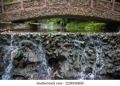image of water stream at Pong Nam Ron Tha Pai hot spring the famous attraction lanmark at Pai district, Mae Hong Son , Thailand