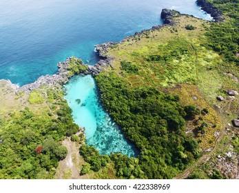 Image of weekuri lagoon takeon from aerial. Locate in sumba, indonesia