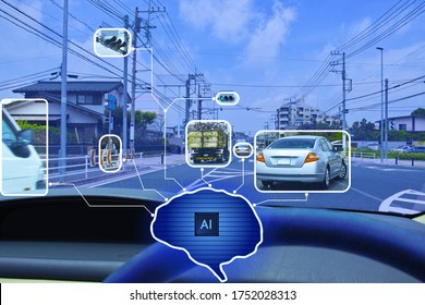 Image in which the AI algorithm is represented by the brain and the control information for automatic driving as viewed from the driver's seat is linked.