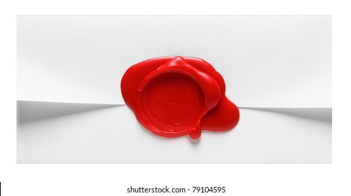 Image of white envelope with red wax stamp isolated