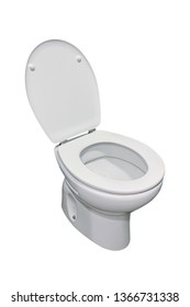 image of white toilet with lid open isolated on a white background