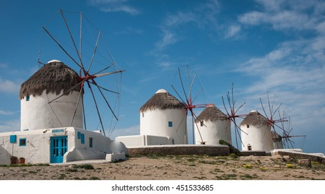 Image of white Windmills on the island  Mikonos, Greece