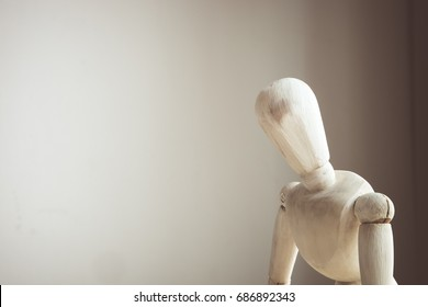 Image of white wooden dummy with worried stressed thoughts. depression, obsessive compulsive, adhd, anxiety disorders concept. copy space